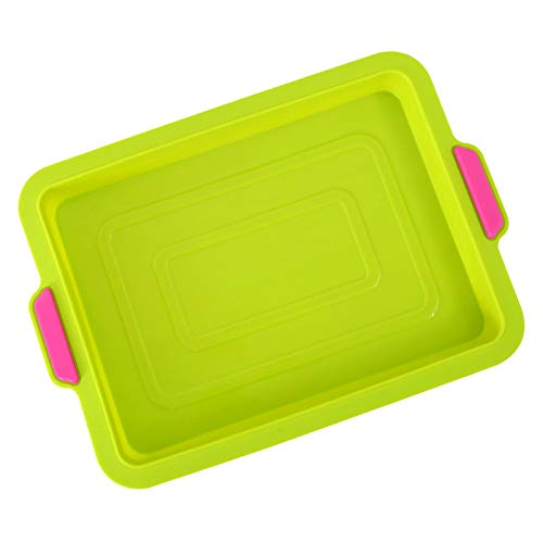 Non-Stick Silicone Bread Pan, Silicone Bread and Loaf Pans, Brownie Baking Pan, Silicone Bakeware Cake Molds for Homemade Cake Bread Pie Crust Omelet 9.4×13.6×1.2 Inch (Green)