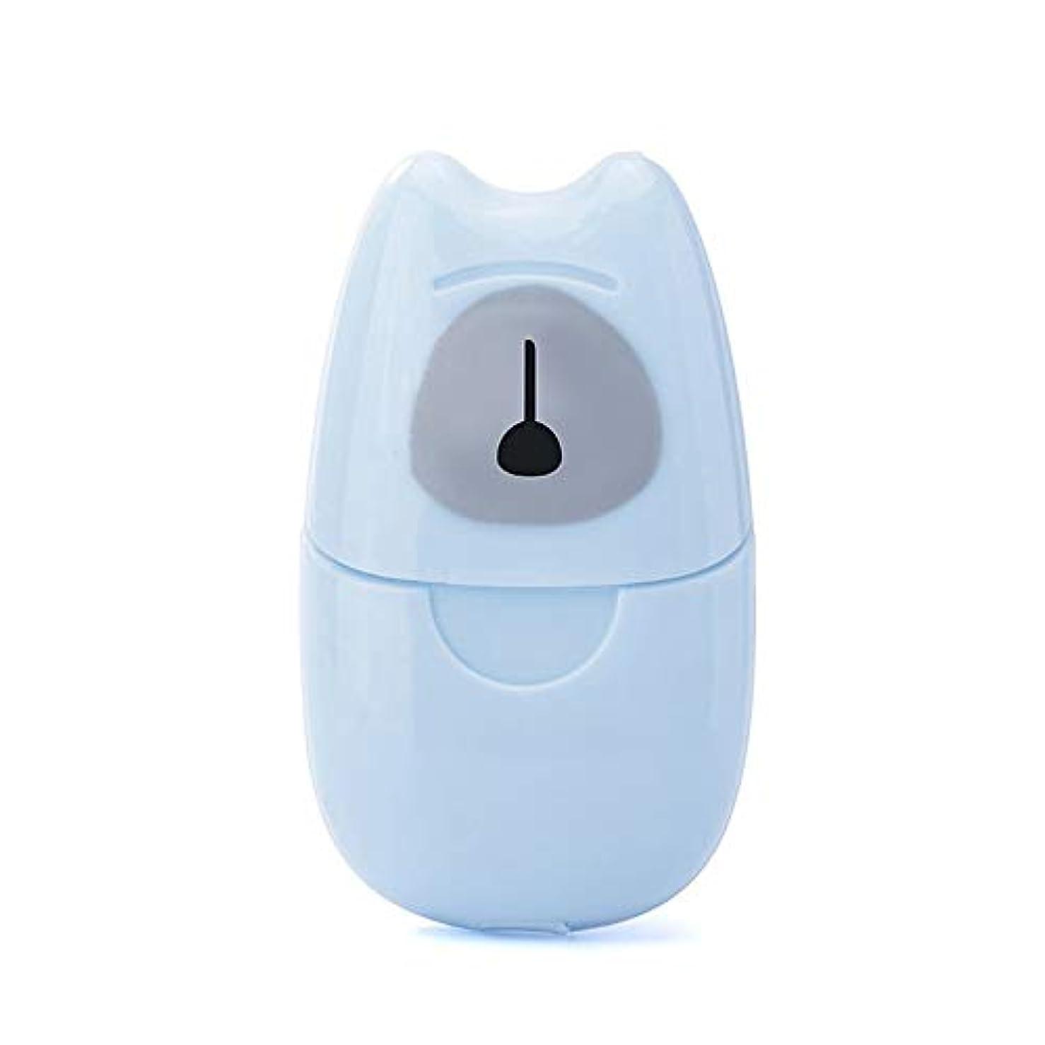 独裁モノグラフ染料箱入り石鹸紙旅行ポータブル屋外手洗い石鹸香りスライスシート50ピースミニ石鹸紙でプラスチックボックス(Color:blue)