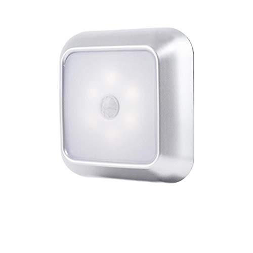palatable Bewegungssensor Licht, Steckdose mit Bewegungsmelder, quadratisch aufklebbar 6 LED Nachtlicht quadratische Lichter mit eingebautem Magnet Wandschrank Schrank Treppe für Schlafzimmer