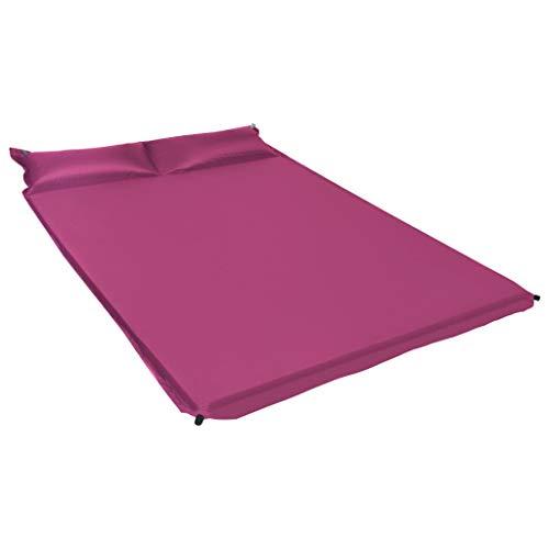 Festnight Aufblasbare Isomatte mit Kissen 130 x 190 cm Rosa Selbstaufblasend Schlafmatte Thermomatte Campingmatte