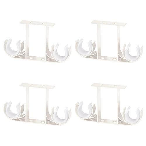UFURMATE Soportes para barra de cortina, 4 soportes de aleación de aluminio para montaje en techo, soportes dobles para cortinas de ventana para barra de cortina de 28 mm (blanco)