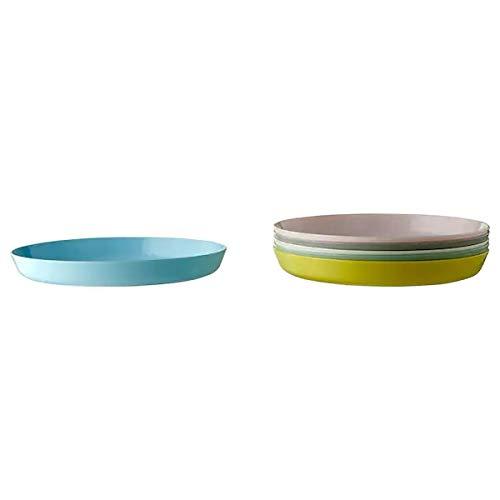 Ikea Kalas - Vajilla de plástico sin BPA – Cubertería Platos Tazas – Colores pastel rosa turquesa gris (platos)