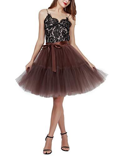 Women's Tulle Skirt Princess Tutu Midi Knee Length Skirt Underskirt Dance Skirt Brown