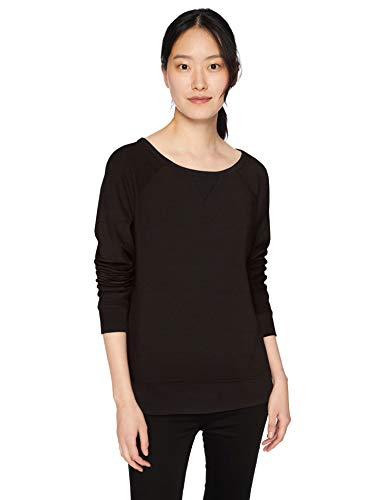 Amazon Brand - Daily Ritual Women's Terry Cotton and Modal High-Low Sweatshirt, Black, Medium
