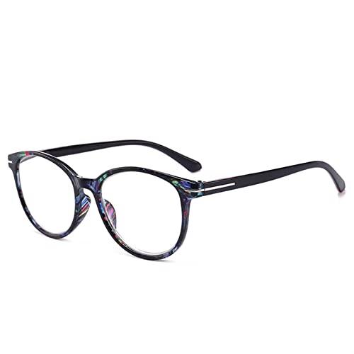 Gafas de Lectura, Lentes Vintage, Gafas de Lectura de Ojos de Gato, presbicia for Mujeres Hombres, Lentes de Marco Floral Redondo, espectáculos de cuidados de visión (Color : +100, Size : P)