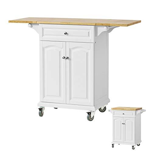 SoBuy FKW36-WN Servierwagen Küchenwagen Küchenregal Rollwagen mit klappbare/erweiterbarer Arbeitsfläche