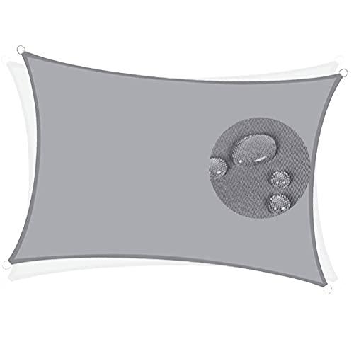 XXJF Tenda parasole rettangolare, resistente ai raggi UV, impermeabile, per patio, giardino, esterno, colore: grigio chiaro, dimensioni: 6 x 8,5 m