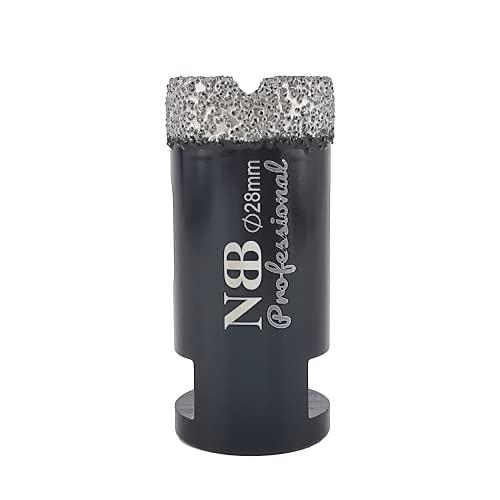 NBB Broca de diamante soldada al vacío con M14, para taladrar en seco y en húmedo profesionalmente en porcelana dura, cerámica, baldosas, granito, mármol, rápida, para Amoladora Angular (Dia.28mm)