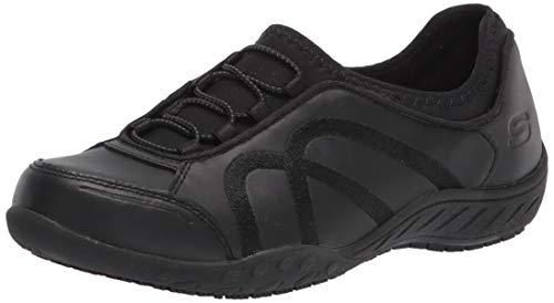 Skechers Women's Slip on Bungee Gore Food Service Shoe, Black, 5.5