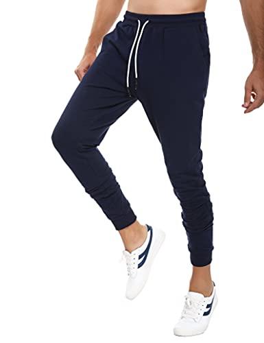 Sykooria pantalones hombres verano pantalones deporte hombre con bolsillos pantalón chándal largo hombre pantalones deportivos para hombres jogger de ajustado pantalones hombres pitillos - Azul marino