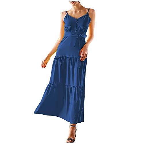 Reasoncool Damen Beiläufig Sommerkleid Loose Ärmelloses Elegant Strandkleid Button Splice Sling Freizeitkleid Mit V Ausschnitt
