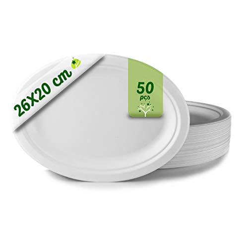 GoBeTree 50 Einweg-Teller, biologisch abbaubar, aus Zuckerrohr, extra stark, weiß, für Partys und Picknicks, oval, 26 x 20 cm