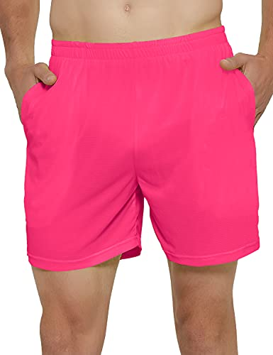 DEMOZU Men's 5 Inch Neon Running Athletic Shorts Quick Dry Gym Workout Track Shorts with Pockets, Neon Pink, XL
