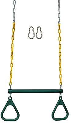 "Jungle Gym Kingdom 18"" Trapeze Swing Bar Rings 48"" Heavy Duty Chain Swing Set Accessories & Locking Carabiners (Green)"