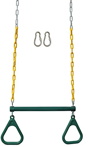 Jungle Gym Kingdom 18 Steel Trapeze Swing Bar with Rings 36 Heavy Duty Chain Swing Set Accessories