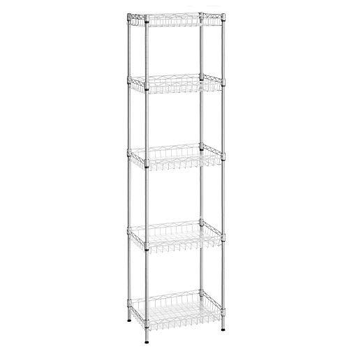 SONGMICS ULGR105E01 - Estante de almacenamiento de metal, 5 niveles, estante de cocina, estantes ajustables, 4 ganchos, hojas de...