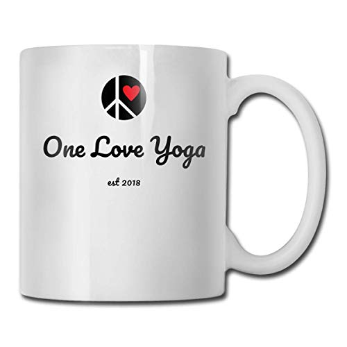 Daawqee Becher Porcelain Coffee Mug One Love Yoga Ceramic Cup Tea Brewing Cups for Home Office