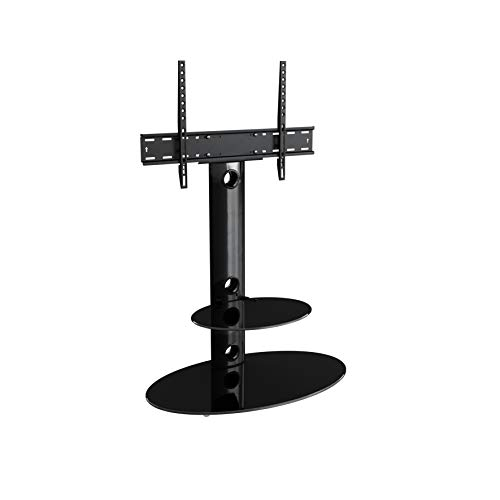 """King TV Stand with Bracket Cantilever for 32"""" 37"""" 39"""" 42"""" 45"""" 47"""" 49"""" 50"""" 55"""" 60"""" 65"""" + TVs,  in black with oval black glass, VESA compatible with curved & flat LCD & LED TVs"""
