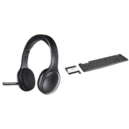 Logitech H800 Bluetooth Headset, Bluetooth und Nano USB-Empfänger + Logitech K375s Set aus Tastatur & Smartphone-Halterung, Bluetooth & 2.4 GHz Verbindung, QWERTZ-Layout, Graphit/weiß