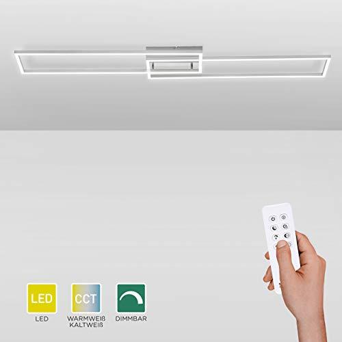 LED-Deckenlampe dimmbar, 110x25cm, Deckenleuchte mit zwei Leuchtrahmen | Farbtemperatursteuerung mit Fernbedienung warmweiß-kaltweiß | Deckenpanel mit Memory-Funktion für Wohnzimmer und Küche