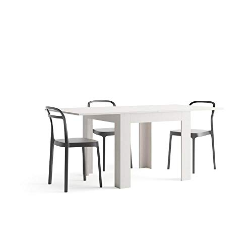 Mobili Fiver, Square extendable dining table, Eldorado, White Ash, Laminate-finished, Made in Italy