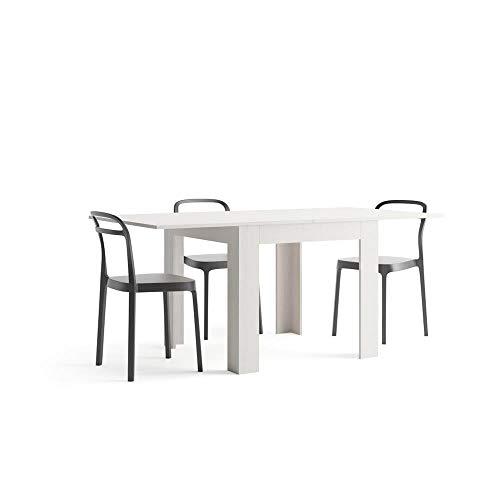 Mobili Fiver, Wohnzimmer Ausziehtisch, Eldorado, Esche, weiß, 90 x 90 x 79 cm, Made in Italy