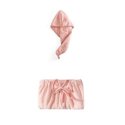 GKXAZ Baño para Mujer Baño Adulto Microfibra Toalla de baño Albornoz Albornoz Set (Color : Pink)