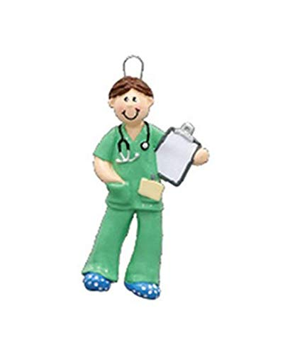 Personalized Male Nurse in Scrubs Christmas Ornament - Doctor Physician Nurse Medical Tech...