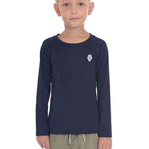 PIQIDIG Jungen Mädchen Langarm Shirts - Jugend Kompression T-Shirts Fußball Basketball Unterhemden Sport - Blau - Groß