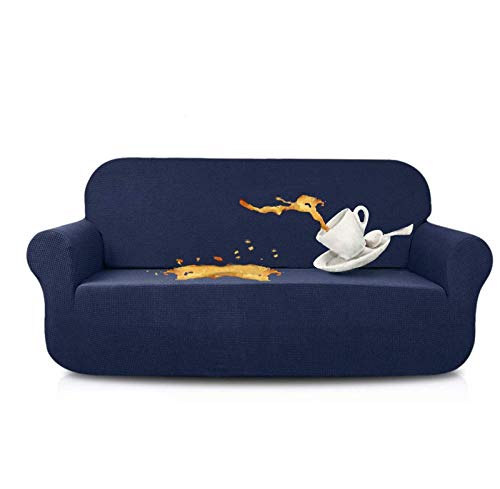 JIAYOUFC Sofa Slipcovers Water Repellent Armchair Covers 1 Piece Stretch Chair Slipcover for Living Room Non Slip Chair Protector Jacquard Sofa Cover (Navy,4 Seater/XL Sofa)