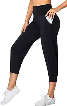 Oalka Womens Capri Joggers High Waist Pockets Running Sweatpants Jogger Pants Black M