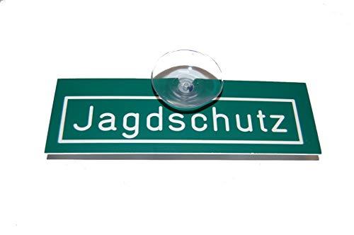 Jehn Autoschild Jagdschutz, grün/weiß, 15cm