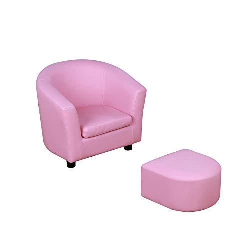 HOMCOM Kindersessel mit Fußhocker, Minisessel, Kinderzimmer Sofa, Kindersofa, Kindermöbel, für 3-6 Jahre alt, Mädchen, rosa, 51 x 39 x 41,5 cm