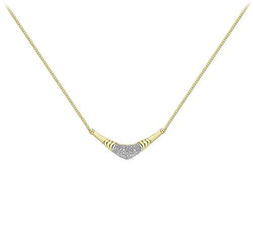Carissima Gold - Collana con Pendente da Donna in Oro Giallo, Bianco 9K (375) con Diamante 1.8 K, 41 cm