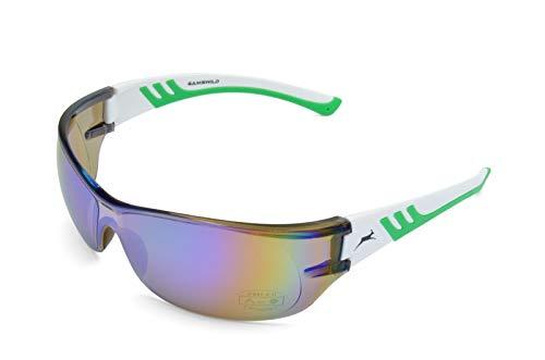 Gamswild Sonnenbrille WS8232 Sportbrille Skibrille Damen Herren Fahrradbrille Unisex   blau   schwarz   weiß, Farbe: Weiß