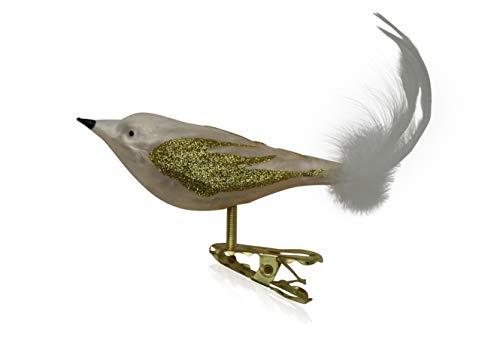 Vögel mit Federschwanz Eislack champagner mit Dekor 3 Stück Christbaumschmuck Weihnachtsbaumschmuck mundgeblasen, handdekoriert Lauschaer Glas das Original
