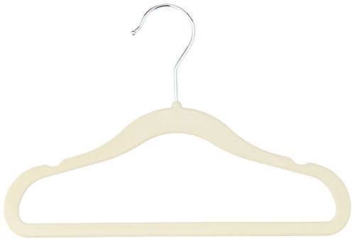 AmazonBasics Baby Kids Velvet Clothes Hangers, Beige - Pack of 50