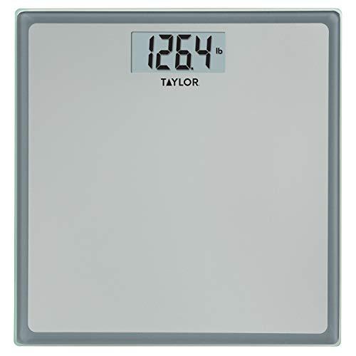 Taylor Precision Products Digital 400 lb capacity Bathroom Scale , Grey With Blue Border