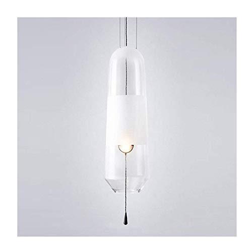 WEM Candelabros novedosos, candelabro creativo nórdico, dormitorio simple, mesita de noche, lámpara de vidrio, pasillo, pasillo, escalera, entrada, faro único, luz colgante