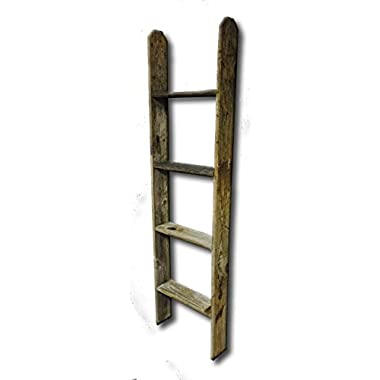 4' Tall Primitive Barnwood Display Ladder Authentic Weathered Wood