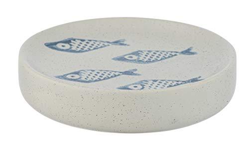Wenko Seifenablage Aquamarin, Seifenschale zur Aufbewahrung von Handseife aus edler Keramik in mattem Weiß mit blauer, maritimer Szenerie, handbemalt, Ø 10 x 3 cm