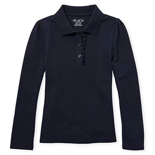 The Children's Place Little Big Girls' Long Sleeve Ruffle Polo Shirt, Tidal, Small/5/6