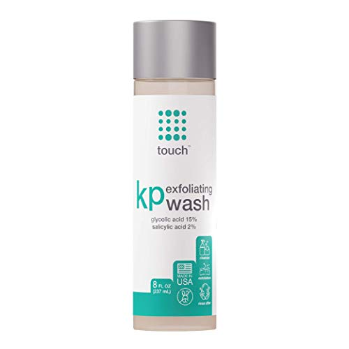Touch Keratosis Pilaris & Acne Exfoliating Body Wash Cleanser - KP Treatment with 15% Glycolic Acid, 2% Salicylic Acid, & Hyaluronic Acid - Smooths Rough & Bumpy Skin - Gets Rid Of Redness, 8 Ounce