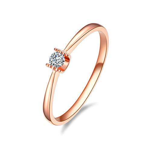AmDxD Echte Goldserie, 18K Rotgold 750 Verlobungsringe, KlassischRinge für Damen, Ringe zum Jahrestag, Solitärring, mit Diamant, Rose Gold, Gr.65 (20.7), Hochzeitsgeschenke
