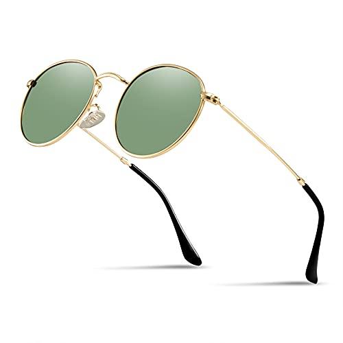 Kennifer Polarized Occhiali da Sole, Rotondi Retro Metallo Eyewear UV400 per Uomini e Donne