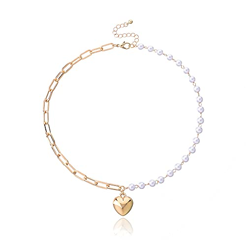 Colgante Collar con colgante de corazón brillante tridimensional Collar asimétrico de cadena con ojales de perlas Ab