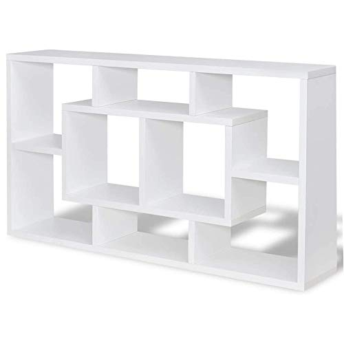 Maison & White Floating Storage Bookshelf | Wall Mounted Cubes | 8 Compartments | Book Case | Shelves for Bedroom and Living Room | Under TV Shelf | M&W (White)