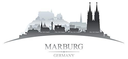 Pegatina de pared skyline Marburgo con iglesia y paisaje de pueblo Alemania ciudades motivo lugares turísticos pared pegatina paisaje urbano pegatina horizonte XXL