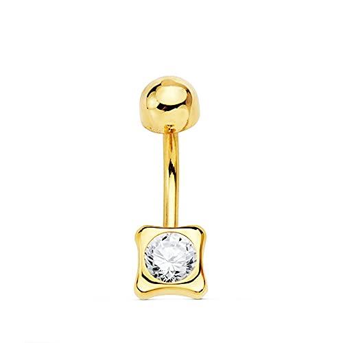 Piercing oro 18k mujer 5mm. ombligo chatón cuadrado combinado circonita
