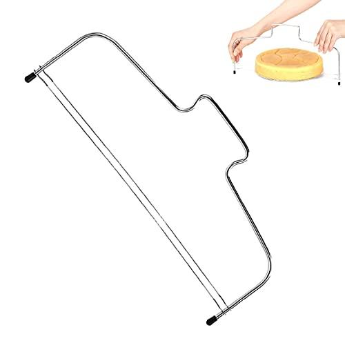 Cortador de tartas de acero inoxidable con alambres de corte, separador de base de tartas con mango, ayuda a principiantes de panaderos y aficionados a la pastelería.